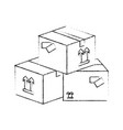 delivery boxes piled up vector image vector image