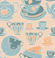 Seamless pattern with teapots teacups vector image