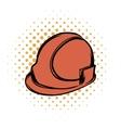 Orange safety helmet comics icon vector image