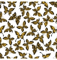 Yellow and black butterflies seamless pattern vector image