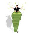 Businessman meditating on dollar Financial yoga vector image