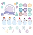 Character set of the new year snowflake funny vector image