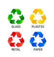 different colored recycle waste signs waste types vector image