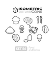 Isometric outline icons set 56 vector image