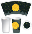 template paper cup with background of night town vector image