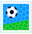 Soccer ball on the stamp vector image