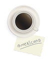Cup of black coffee with a note vector image vector image