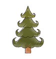 christmas tree color crayon silhouette on white vector image