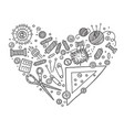 heart shape set of sewing tools vector image