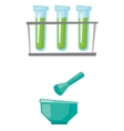 Laboratory glassware with mortar and pestle vector image