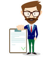 man in a suit holds contract vector image