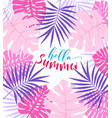 Palm leaves background vector image