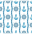 seamless pattern of sea anchors and helm vector image