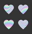 set of holographic hearts vector image