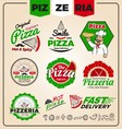 Set of pizzeria logo template design Pizza labels vector image