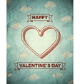 Vintage crumpled Valentines Day card with clouds vector image