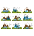 Orthogonal Ecology Icon Set vector image