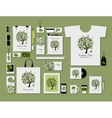 Corporate flat mock-up template tropical tree vector image