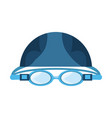 swimming cap and glasses vector image