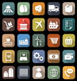 Supply chain flat icons with long shadow vector image