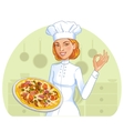 Cute cook girl with pizza on plate eps10 vector image