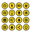 Electric Icons Set Yellow Signs vector image