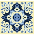 Hand drawing tile pattern in blue and yellow vector image