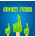 color sport fans foam fingers on the retro vector image