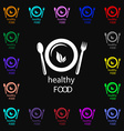 healthy food concept icon sign Lots of colorful vector image