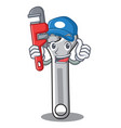 plumber wrench character cartoon style vector image