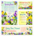 springtime holidays floral banner template set vector image