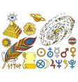 trendy mystic and magic esoteric symbols sketch vector image