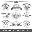 Vintage construction labels vector image