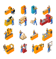 Factory Workers Icons Set vector image