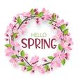 Watercolor sakura wreath Natural round frame with vector image