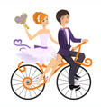 Couple in love on tandem bicycle vector image vector image