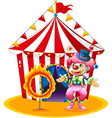 A female clown juggling in front of the tent vector image