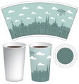 template paper cup with the background of old town vector image