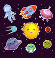 space fashion patch badges with planets vector image