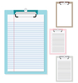Set of plastic clipboard with paper vector image vector image