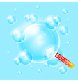 Soap bubbles on blue background Background can be vector image vector image
