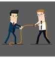 two businessmen in a tug of war battle for vector image