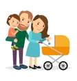 Family with baby in stroller vector image
