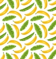 Seamless Pattern with Banana Leaves and Fruits vector image