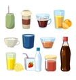 Non-alcoholic beverages set in cartoon vector image