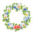 Floral wreath with flowers and hearts vector image