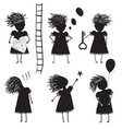 Girl silhouette character traits clip art vector image