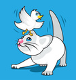 Kitten with Bird vector image