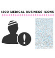 patient problem icon with 1300 medical business vector image