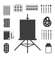 set of black art things vector image